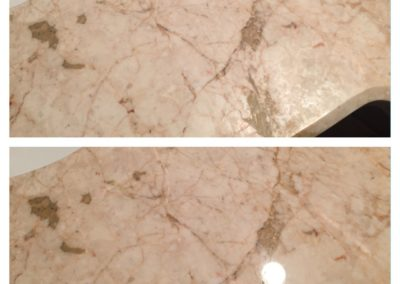 Pink Marble polishing before and after