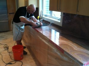 Kitchen countertop restoration with owner, Paul