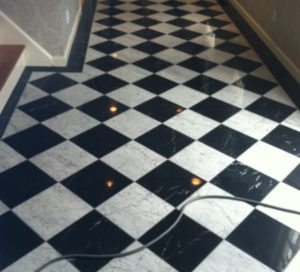 black and white marble newport, RI after refinishing