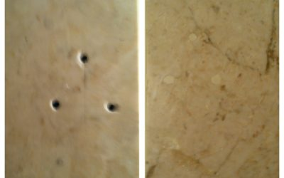 Chip and hole repair on granite and marble