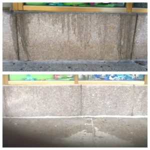 Exterior Granite Cleaning Before and After Massachusetts