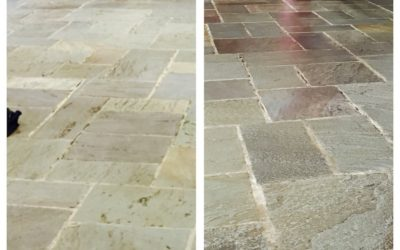 Dedham, MA Slate Floor Before and After
